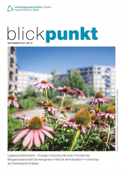 Titelseite Magazin Blickpunkt mit Foto Siedlung Triemli
